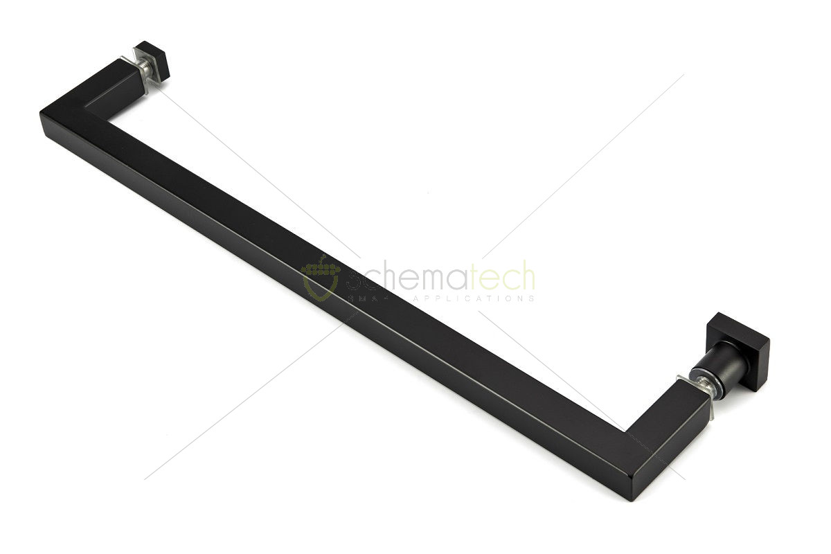 Black 400mm Towel Radiator: Square Towel Rail (400mm) With Square Back Knob